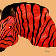 Orange Zebra Art Print