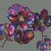 Orchids Grey Bubble Art Print