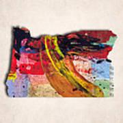 Oregon Map Art - Painted Map Of Oregon Art Print