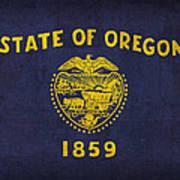 Oregon State Flag Art On Worn Canvas Art Print