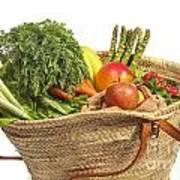 Organic Fruit And Vegetables In Shopping Bag Art Print