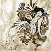 Oriental Beauty Sepia Tone Art Print