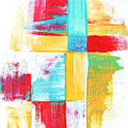 Original Bold Colorful Abstract Painting Patchwork By Madart Art Print by Megan Duncanson