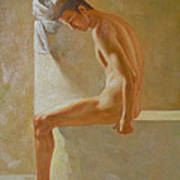 Original Classic Oil Painting Body Man Art- Male Nude In The Bathroom#16-2-3-01 Art Print