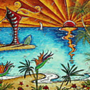 Original Coastal Surfing Whimsical Fun Painting Tropical Serenity By Madart Art Print
