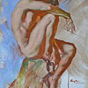 Original Impression Oil Painting Gay Man Body Art Male Nude -189 Art Print