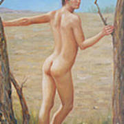 original Oil painting boy art male nude on canvas#16-2-5-07 Art Print