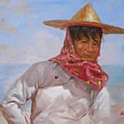 Original Oil Painting - Chinese Woman#16-2-5-26 Art Print