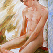 Original Boy Man Body Oil Painting Male Nude Sitting On The Window#16-2-5-28 Art Print