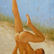Original Oil Painting Man Art Male Nude On Sand On Canvas#16-2-5-05 Art Print