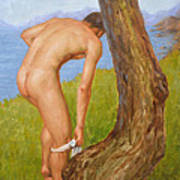 Original Oil Painting Man Body Art Male Nude-029 Art Print