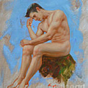 Original Oil Painting Man Body Art - Male Nude -037 Art Print