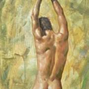 original Oil painting man body art  male nude on canvas #16-2-5-03 Art Print