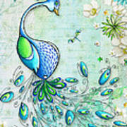 Original Peacock Painting Bird Art By Megan Duncanson Art Print