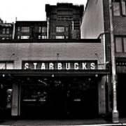 Original Starbucks Black And White Art Print