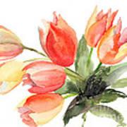 Original Tulips Flowers Art Print