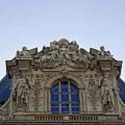 Ornate Architectural Artwork On The Musee Du Louvre Buildings In Paris France  Art Print
