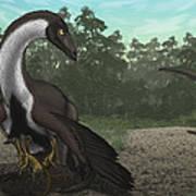 Ornithomimus Mother Dinosaur Art Print by Vitor Silva