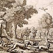 Otter Hunting By A River, Engraved Art Print