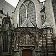 Oude Kerk Door With Bikes Amsterdam Art Print