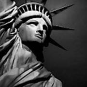 Our Lady Liberty In B/w Art Print