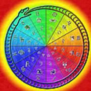 Ouroboros Alchemical Zodiac Art Print by Derek Gedney