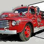 Out Of The Photo Fire Truck Art Print