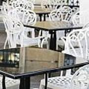 Outdoor Cafe Tables Art Print by Oscar Gutierrez