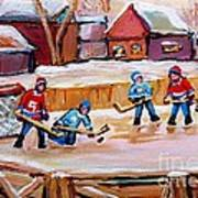 Outdoor Rink Hockey Game In The Village Hockey Art Canadian Landscape Scenes Carole Spandau Art Print
