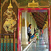 Outer Hall In Thai-khmer Pagoda At Grand Palace Of Thailand Art Print