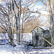 Outhouse In Winter Art Print