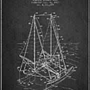 Outrigger Sailboat Patent From 1977 - Dark Art Print