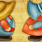 Overall Sam And Sunbonnet Sue Art Print by Brenda Bryant