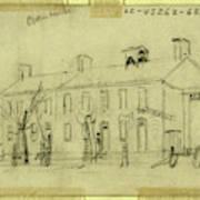 Owen House, 1860-1865, Drawing On Cream Paper Pencil Art Print