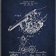 Owen Revolver Patent Drawing From 1899- Navy Blue Art Print