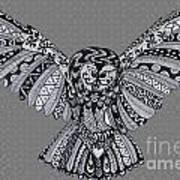 Owl In Flight Grey Art Print