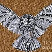 Owl In Flight Leopard Art Print