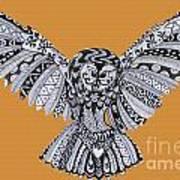 Owl In Flight Orange Art Print