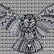 Owl In Flight Pattern Art Print