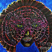 Owl Mask Self Portrait Art Print