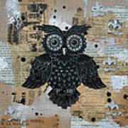 Owl On Burlap2 Art Print