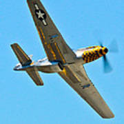 P-51 Mustang Wing Over Art Print by Puget  Exposure