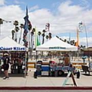 Pacific Coast Kites And Paradise Dogs On The Municipal Wharf At The Santa Cruz Beach Boardwalk Calif Art Print