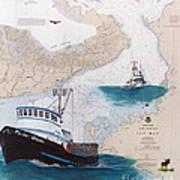 Pacific Dream Crab Fishing Boat Nautical Chart Art Art Print