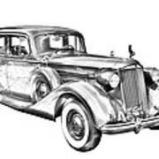 Packard Luxury Antique Car Illustration Art Print