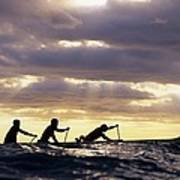 Paddlers Silhouetted Art Print