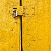 Padlock On An Old Yellow Door Art Print