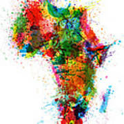 Paint Splashes Map Of Africa Map Art Print by Michael Tompsett