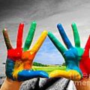 Painted Colorful Hands Showing Way To Colorful Happy Life Art Print