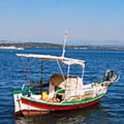 Painted Fishing Boat In Corfu Greece Art Print
